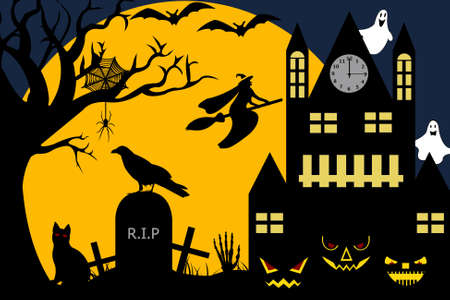 Halloween illustration of a witch flying over a cemetery Vector