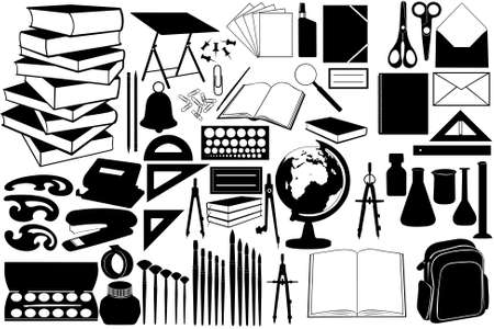 Different objects for school isolated Vector