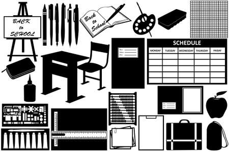 Different objects for school isolated on white Vector