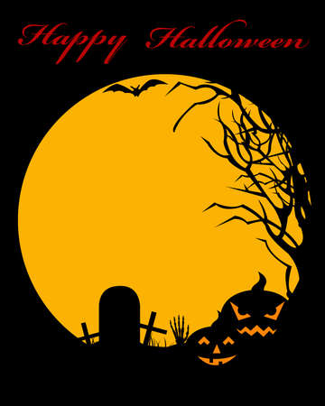 Halloween illustration with moon in background Stock Vector - 10606655