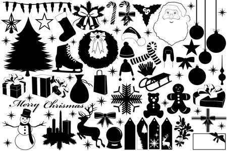 patinaje sobre hielo: Ilustraci�n de Navidad con objetos aislados en blanco