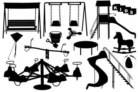 niños en area de juegos: Zona de juegos para la ilustración con diferentes objetos