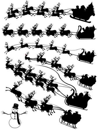 sledge: Santa Claus en un trineo de conducci�n aislado en blanco Vectores