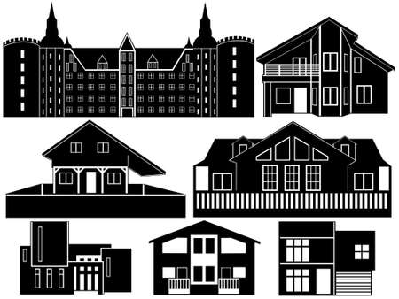 exterior element: House silhouettes isolated on white