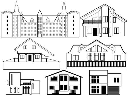 mansion: House silhouettes isolated on white