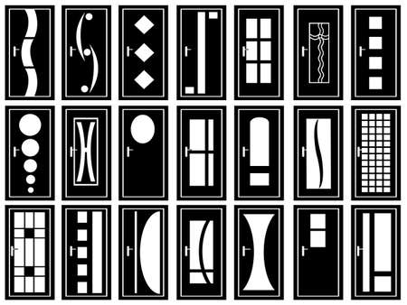 wood carving door: Illustration of doors isolated on white