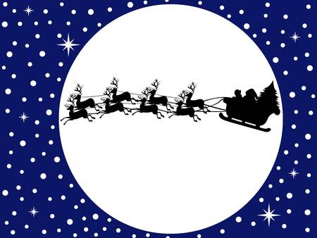 Santa claus driving in a sledge with blue sky in background