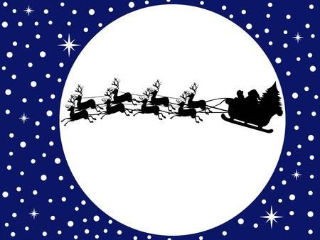 papa noel en trineo: Santa Claus en un trineo de conducir con el cielo azul de fondo Vectores
