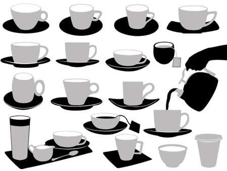 cappucino: Illustratie van kopjes geïsoleerd op wit Stock Illustratie