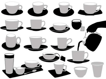 sugar spoon: Illustration of cups isolated on white Illustration