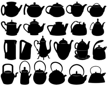 kettles: Teteras aislados en blanco Vectores