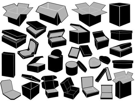close icon: Boxes isolated on white