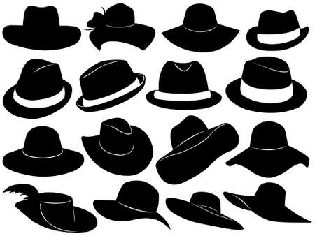 hat with feather: Hats illustration isolated on white Illustration