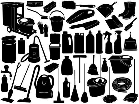 mop: Cleaning objects isolated on white Illustration