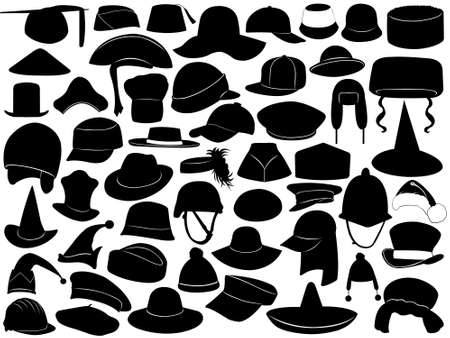Illustration of different kinds of hats Vectores