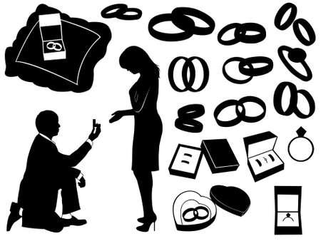 anillo de compromiso: Ilustración de una propuesta de matrimonio y diversos objetos