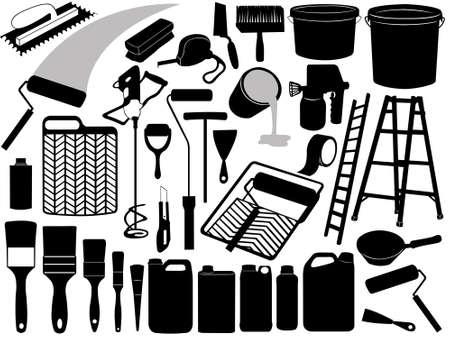 trowels: Illustration of different painting objects isolated on white