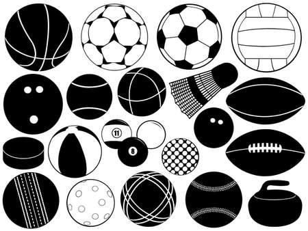 activity icon: Different game balls isolated on white