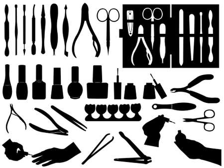 pinzas: Set de manicura y pedicura aislado en blanco