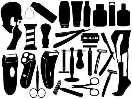 Shaving tools set isolated on white Vector