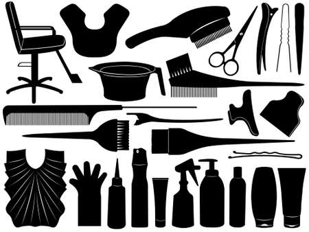 dyeing: Equipment for hair dyeing isolated on white