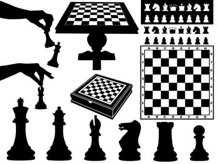 chess knight: Ilustraci�n de las piezas de ajedrez aisladas en blanco Vectores