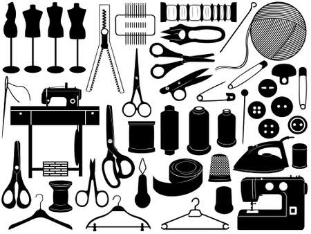 Tailoring equipment isolated on white Vector