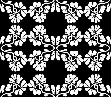 Seamless floral with black background Vector