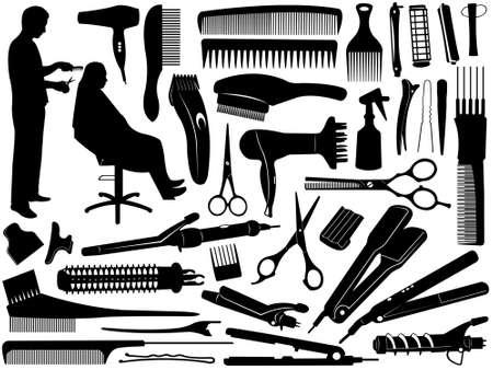 peluquero: Accesorios para el pelo aislados en blanco