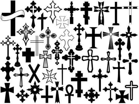 cruz de jesus: Cruce establece aislado en blanco Vectores