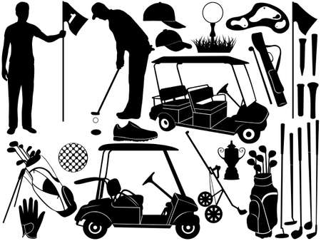 Golf set isolated on white Vector