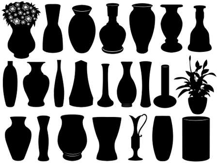Vase set isolated on white Vector
