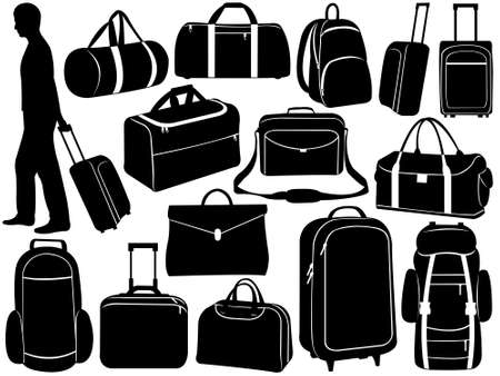 packing suitcase: Sacchetti di diversi set isolato su bianco Vettoriali