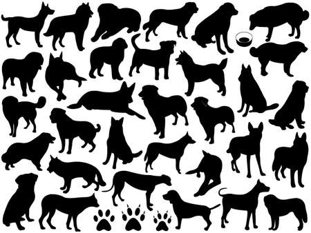 Dogs silhouette collage isolated on white Vector