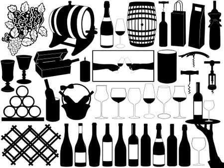 food and drink industry: Raccolta di oggetti di vino isolato su bianco