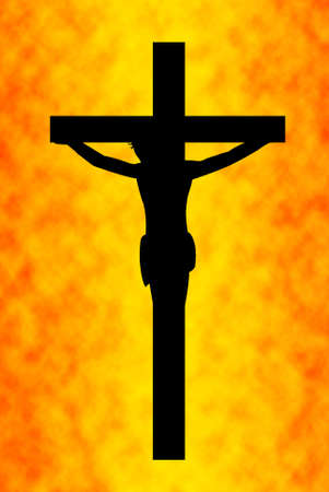Jesus on the cross with orange in background photo