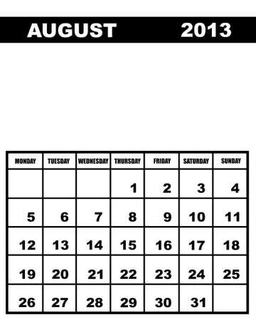 august calendar: Agosto del calendario 2013 aislados en blanco Vectores
