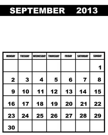calendario septiembre: Septiembre del calendario 2013 aislados en blanco