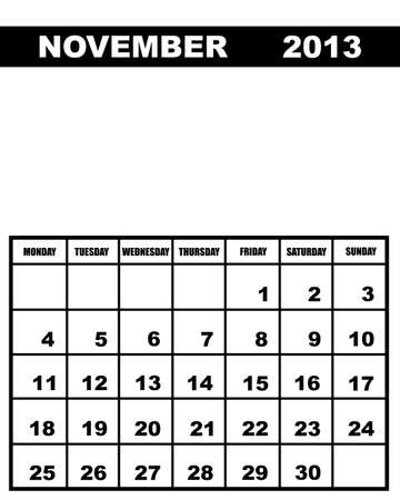november calendar: November calendar 2013 isolated on white Illustration