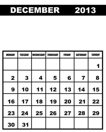 december calendar: Dicembre calendario 2013 isolato su bianco