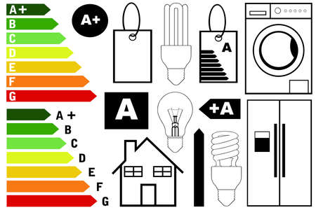 energy classification: Energy efficiency elements isolated on white