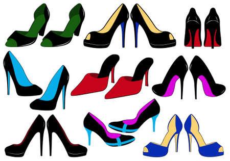tacones negros: Ilustración de zapatos de diferentes aislados en blanco