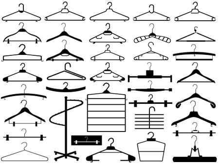 appendini: Hanger set isolato su bianco Vettoriali