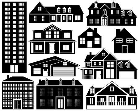 House silhouettes isolated on white Stock Vector - 12355750