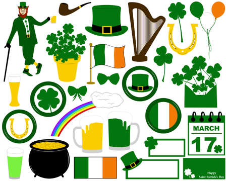 Illustration of Saint Patrick s Day isolated on white Vectores