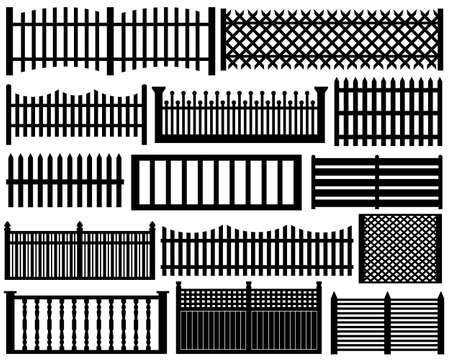 picket fence: Fence set isolated on white
