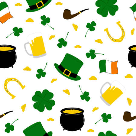 Seamless Saint Patrick s background isolated on white Vector