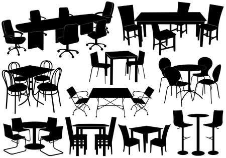 sitting at table: Illustration of tables and chairs isolated on white