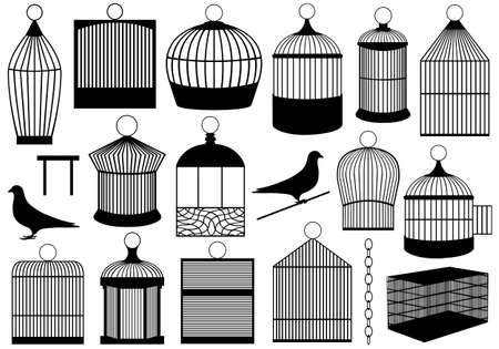 confined: Bird cages isolated on white