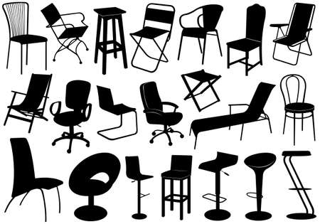 modern furniture: Illustration of chairs set isolated on white